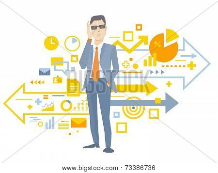 Vector Illustration Of A Portrait Of Analyst Man In A Jacket Hand Holds Glasses Stands Near The Sche