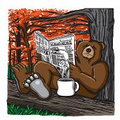 This bear is relaxing in the Fall forest by reading his favorite newspaper and drinking a hot cup of coffee. poster