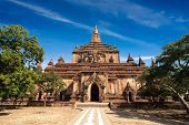 Sulamani Pagoda. Amazing architecture of old Buddhist Temples at Bagan Kingdom Myanmar (Burma) travel landscapes and destinations poster