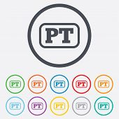Portuguese language sign icon. PT Portugal translation symbol with frame. Round circle buttons with frame. Vector poster