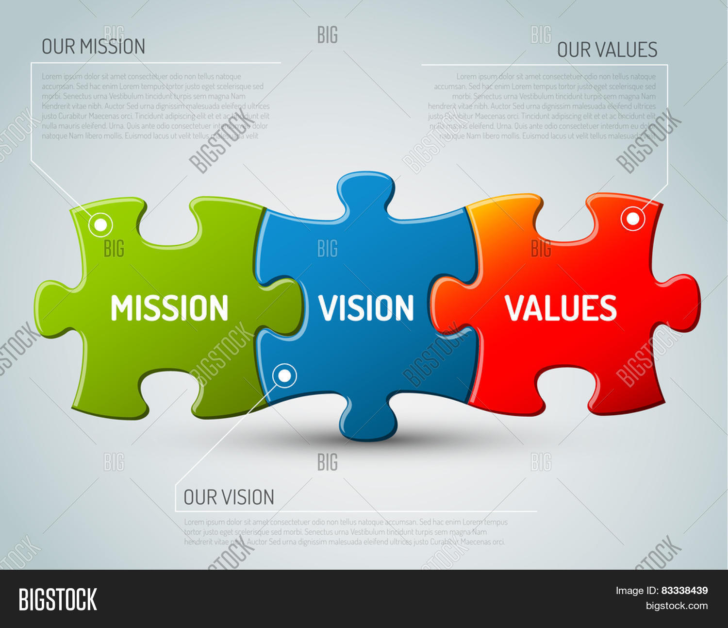 Vector mission vision values vector photo bigstock vector mission vision and values diagram schema made from puzzle pieces ccuart Gallery