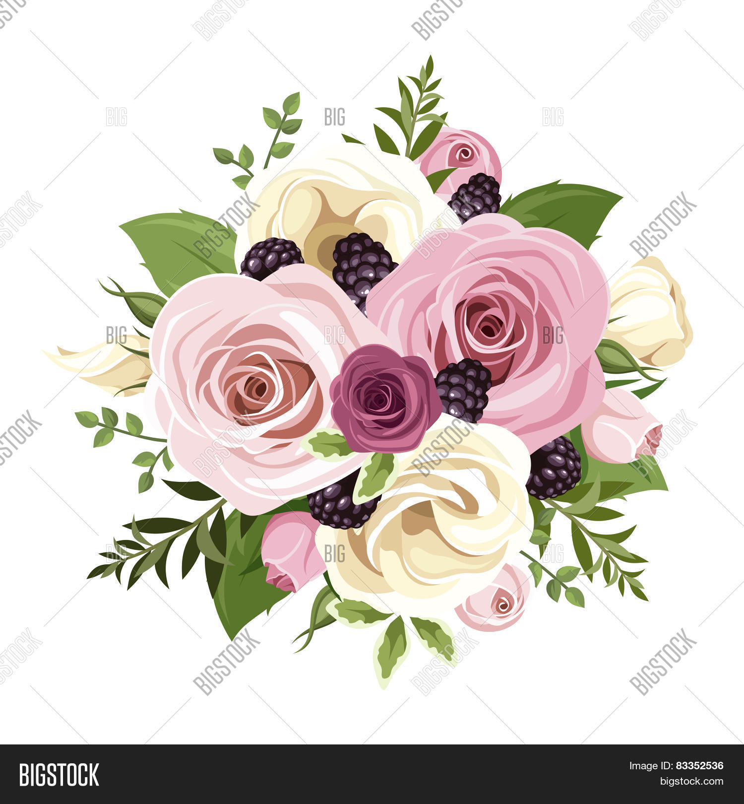 Pink White Roses Vector Photo Free Trial Bigstock