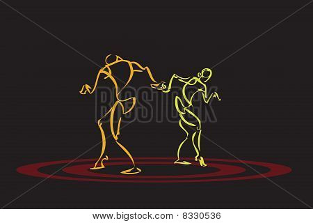 Illustration Of A Couple Dancing
