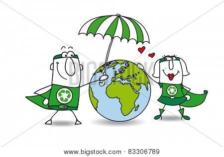 Earth protection. Two superheroes protect the earth! It is very kind