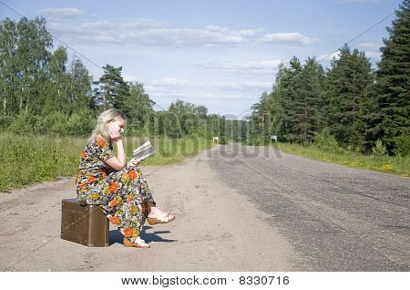 Beautiful Young Girl Traveling With Bag