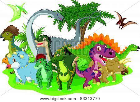Cartoon group dinosaur