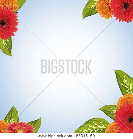 Bright frame made of flowers and leaves with space for text