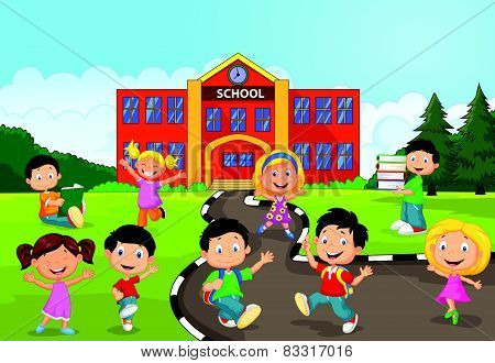 Happy school children cartoon in front of school