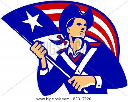American Patriot Minuteman With Flag Retro