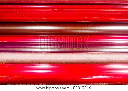 print machine printing press rollers red magenda color drum