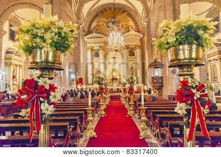 Metropolitan Cathedral Christmas Eve Service Zocalo Mexico City Mexico