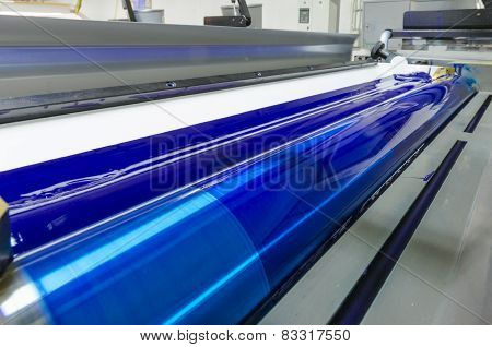 print machine printing press rollers cyan blue color drum
