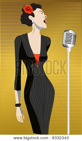 woman artist singing, microphone, mike