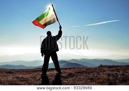 Man holding Arab Emirates flag on a mountain