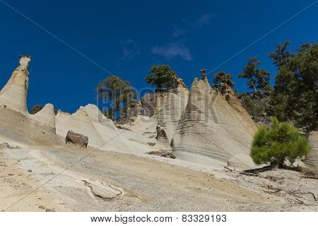 Erosion On Tenerife With Rocks And Blue Sky