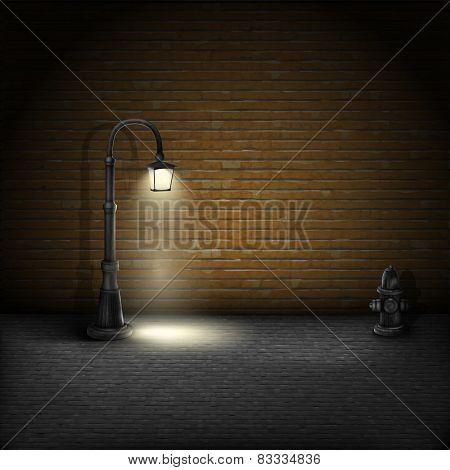 Vintage Streetlamp On Brick Wall Background.