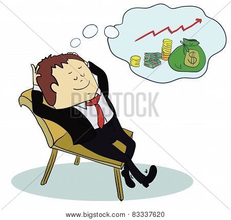 Man dream about money. Concept cartoon illustration. Vector