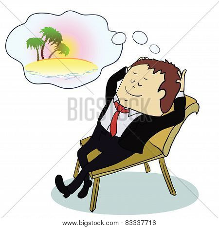Businessman dreaming about vacation ,vector illustratoin
