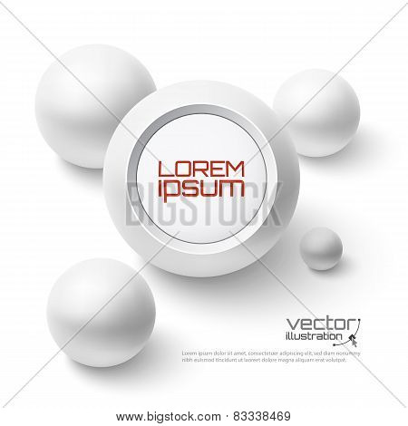 Abstract background with round banner and realistic spheres.