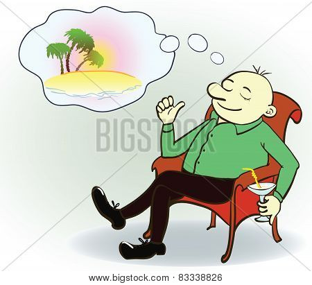 Businessman dreaming about vacation ,vector