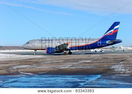 NIZHNY NOVGOROD. RUSSIA. FEBRUARY 17, 2015. Passenger Airbus A-320 plane of airline AEROFLOT