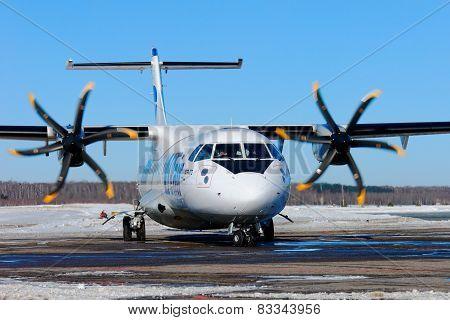 NIZHNY NOVGOROD. RUSSIA. FEBRUARY 17, 2015.  Passenger ATR-72 plane of the Utair company.