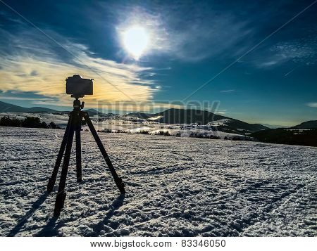 Camera Shooting Mountin Landscape
