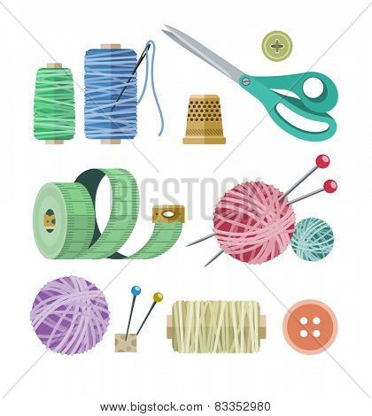 Tools and materials for fancywork. Eps10 vector illustration. Isolated on white background