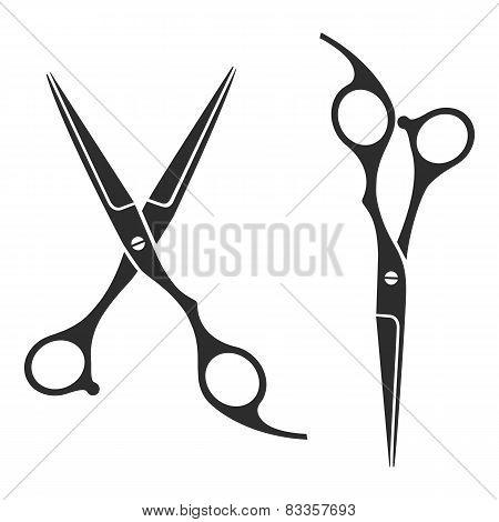 Vintage barber shop scissors, logo, label, badge