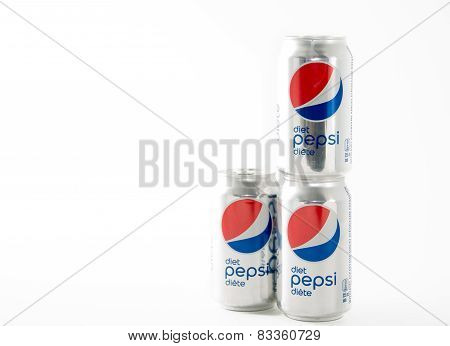 Pepsi Diet Softdrink Cans Over White Background