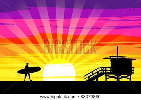 Surfer Walking Into The Sunset On Venice Beach, Los Angeles, California. Eps10 Vector