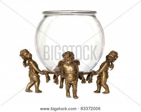 Cherubs Holding Glass Fish Bowl