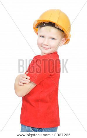 Young Future Engineer In Yellow Helmet
