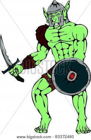 Orc Warrior Sword Shield Cartoon