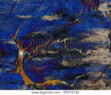 Mixing abstract oil painting and wood photo