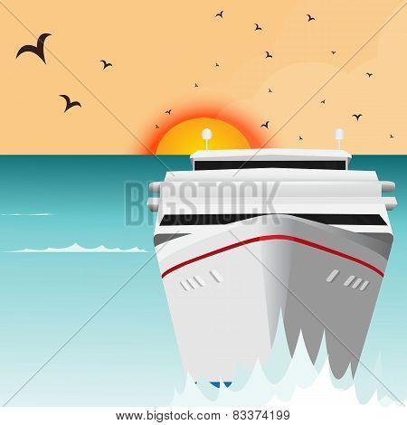Ocean Liner Cruise Ship Boat At Sea