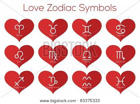 Love Horoscope Symbols. Astrological Signs Of The Zodiac.