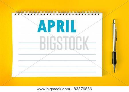 April Calendar Blank Page