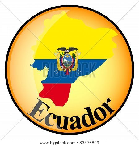 Orange Button With The Image Maps Of Ecuador