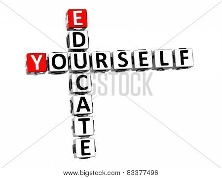 3D Crossword Educate Yourself On White Background
