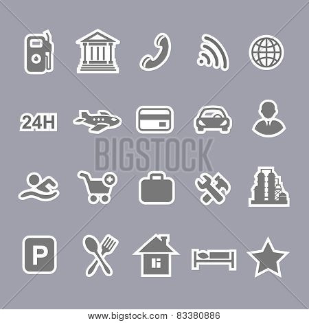 Icons for locations and services  airport shopping restaurant  hotel gas station