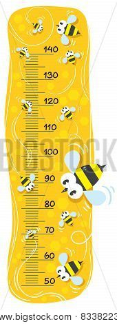 Meter wall or height meter with funny bees on honey gold mackground with a scale to measure poster