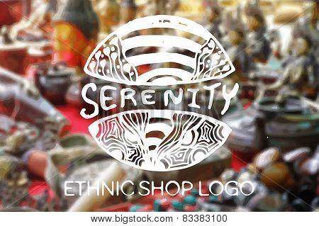 Detailed hand drawn zentangle logo. Serenity