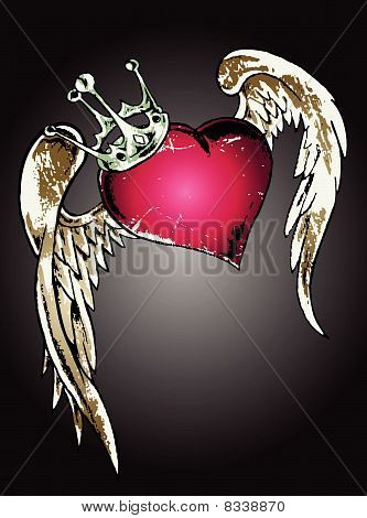 shiny heart tattoo design