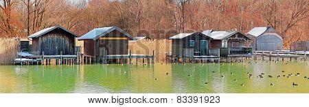 Boat Houses At The Lake Shore