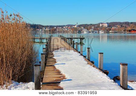 Wintry Boardwalk At Starnberg Lake, Bavaria
