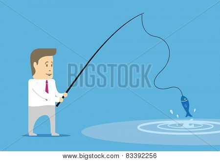 Character manager caught fish. Metaphor image