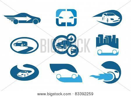 Car. Abstract element set of symbol templates. Also as emblem.