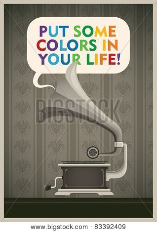 Vintage illustration with phonograph. Vector illustration.