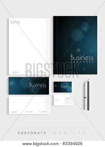 Beautiful blue corporate identity kit for your business includes Letterhead, Visiting Cards, Envelopes, Brochure and stationary. poster